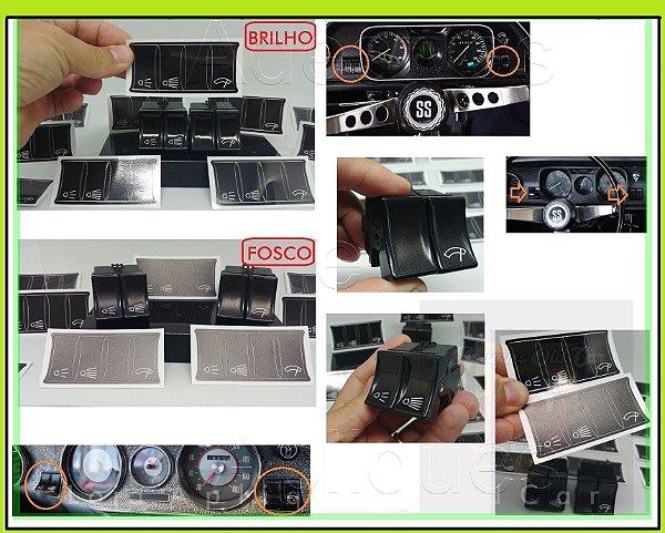 Kit Apliques Grafia dos Botões / Interruptores - Painel Opala 69 a 74
