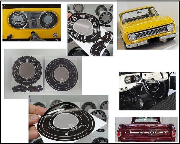 Kit de Apliques Painel de Instrumentos C10, C14 e Veraneio 1973 a 1979  (Padrão Original  Horasa 140Km)