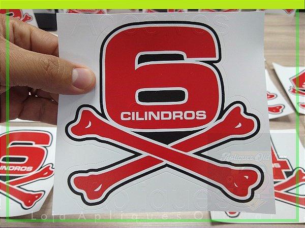 Adesivo Osso 6 Cilindros - Opala, Caravan, C10, Puma - (Vermelho ou Preto) - Tamanho Grande