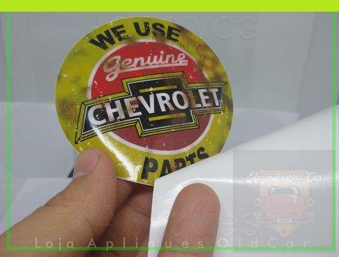 ADESIVO WE USE GENUINE PARTS - CHEVROLET - ADESIVO RETRÔ - (REVERSO - COLAGEM INTERNA NO VIDRO)