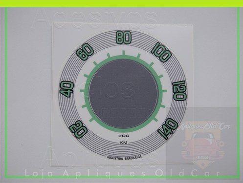 APLIQUE VELOCÍMETRO FUSCA  (1970 a 1975) - 140KM - PADRÃO VDO - BRANCO c/ VERDE