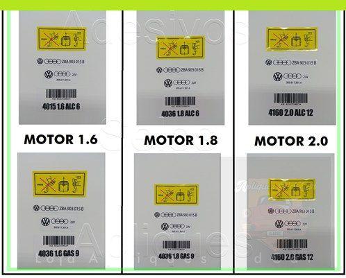 KIT ADESIVOS MOTOR AP (1.6, 1.8, 2.0 - Álcool ou Gasolina) CAPA DE CORREIA - TAMPA DE VÁLVULAS - RESERVATÓRIO FREIO