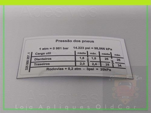 ADESIVO PRESSÃO DOS PNEUS - GOL G1 e  FUSCA ITAMAR - COLUNA DE PORTA