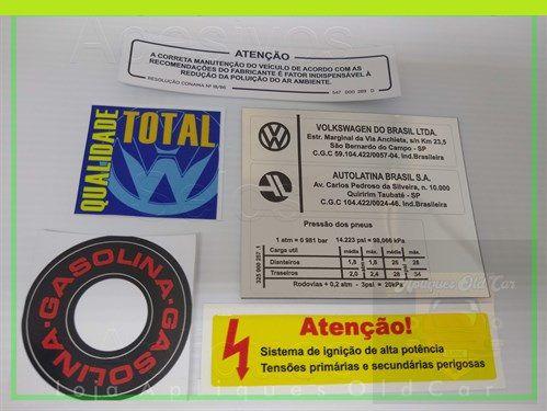 KIT ADESIVOS FUSCA ITAMAR - INTERNOS E LATARIA (COLUNA, MINI-FRENTE, CAIXA DE ESTEPE, PARA-BRISA)
