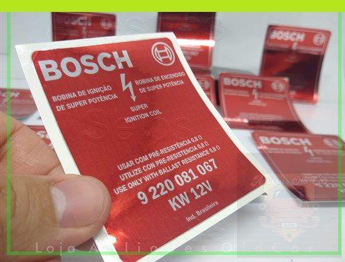 ADESIVO BOBINA BOSCH KW 12V - RESTAURAÇÃO RÓTULO DA BOBINA - VW, FORD, GM, FIAT