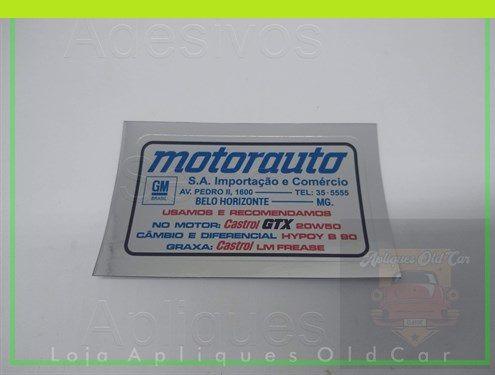 ADESIVO CONCESSIONÁRIA GM - MOTORAUTO BELO HORIZONTE - MG  (COLAGEM - LATARIA)