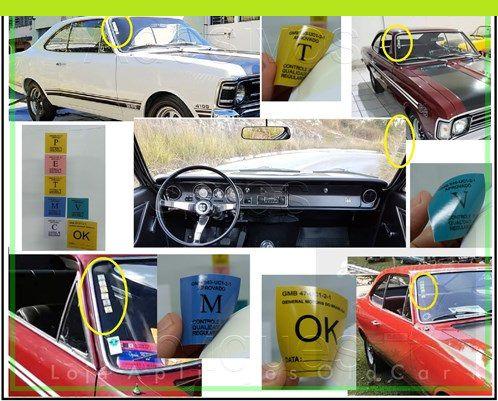 Selos Controle de Qualidade e Regularidade  GM - Para-brisa - Linha até 78 - Opala / Caravan / C10 / Veraneio