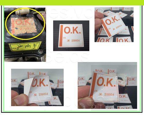 ADESIVO SELO OK - MOTOR PASSAT até 89 - L, LS, TS, GLS LSE, GTS, POINTER