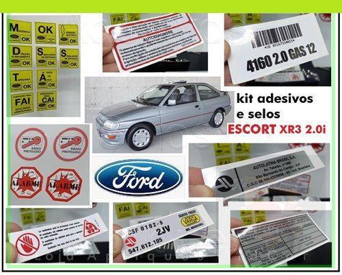 KIT ADESIVOS FORD ESCORT XR3 2.0i - 93 a 96 (KIT COMPLETO DE ADESIVOS E SELOS)
