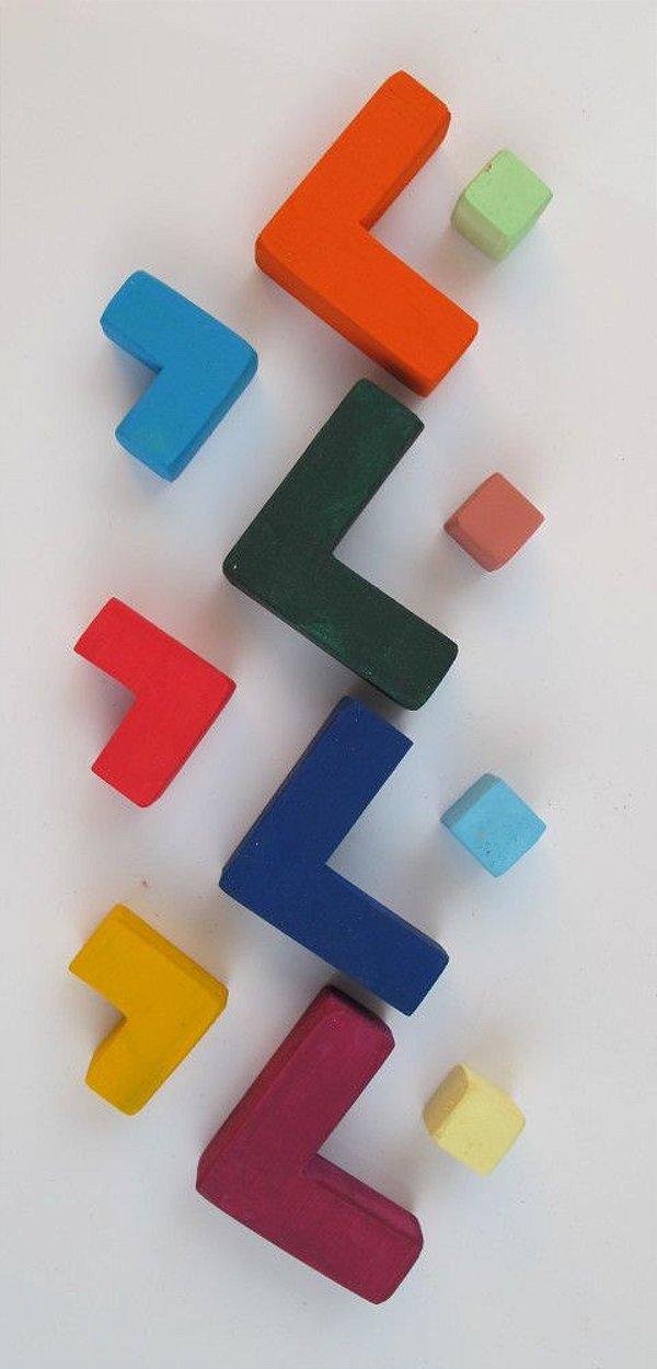 Caixa formas blocos quadrados coloridos 12 peças - Waldorf