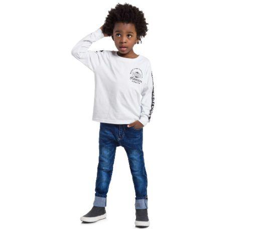 Conjunto Camiseta Manga Longa e Calça Jeans Menino Mundi