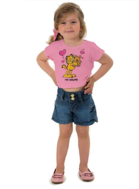Blusa top Garfield meia malha flamê (rosa)