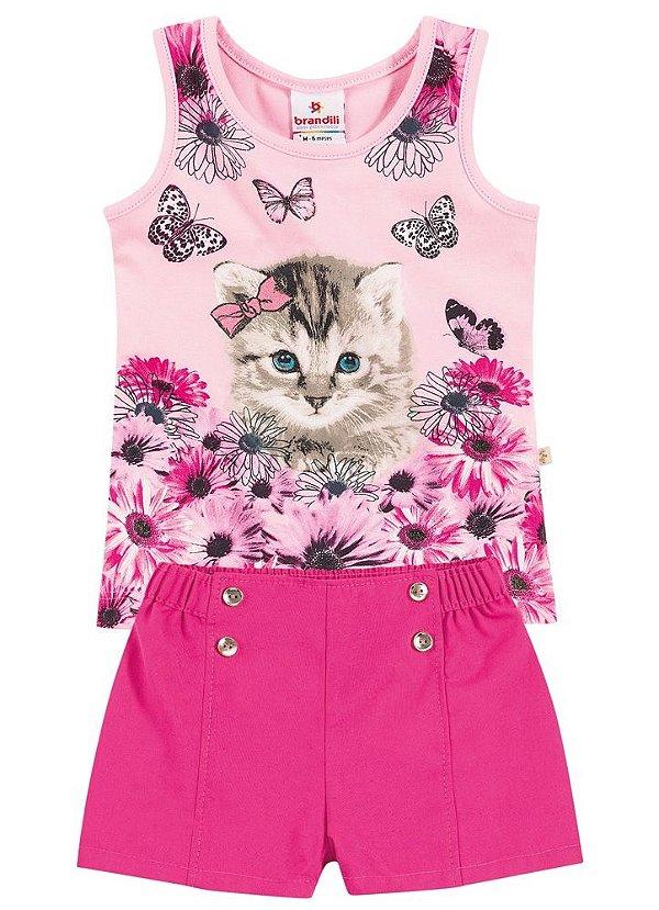Conjunto blusa cotton e short tricoline