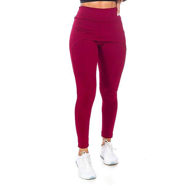 Legging com Saia Fitness Vermelho Poliéster