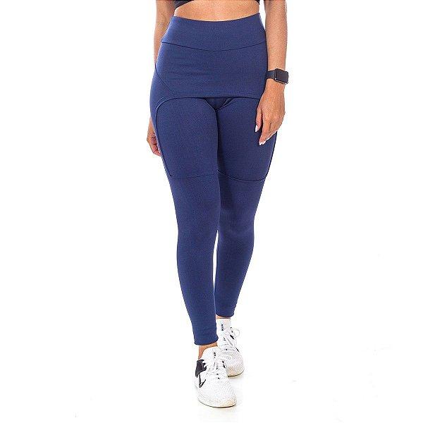 Legging com Saia Fitness Azul Poliéster