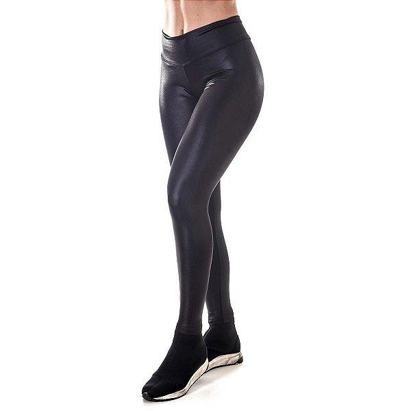 Calça Legging Básica Cirrê Preta Poliéster