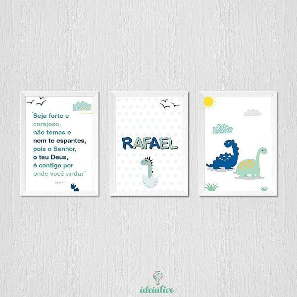 Trio de Quadros para Menino Dinossauro