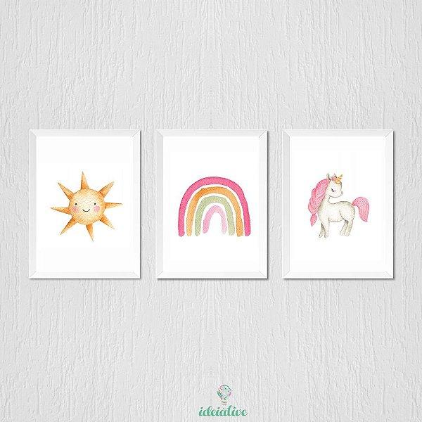Quadro Infantil em Aquarela Arco Iris, Unicórnio e Sol