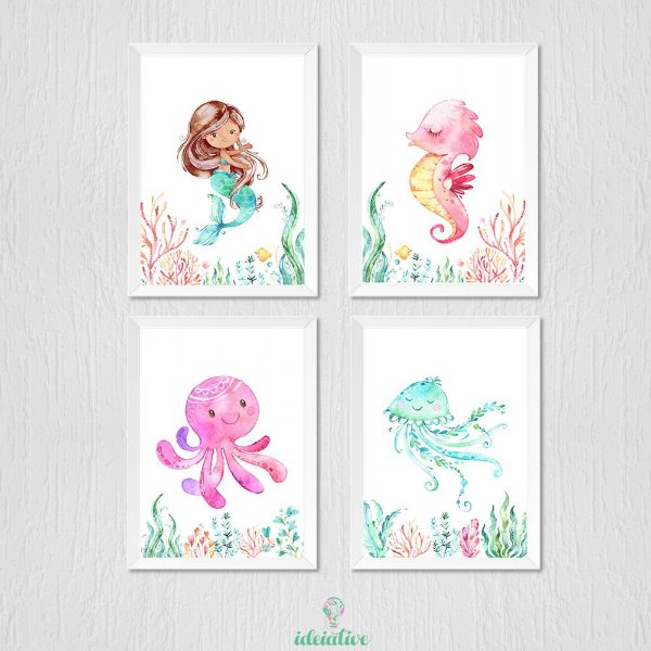 Quadro Infantil Sereia Aquarela