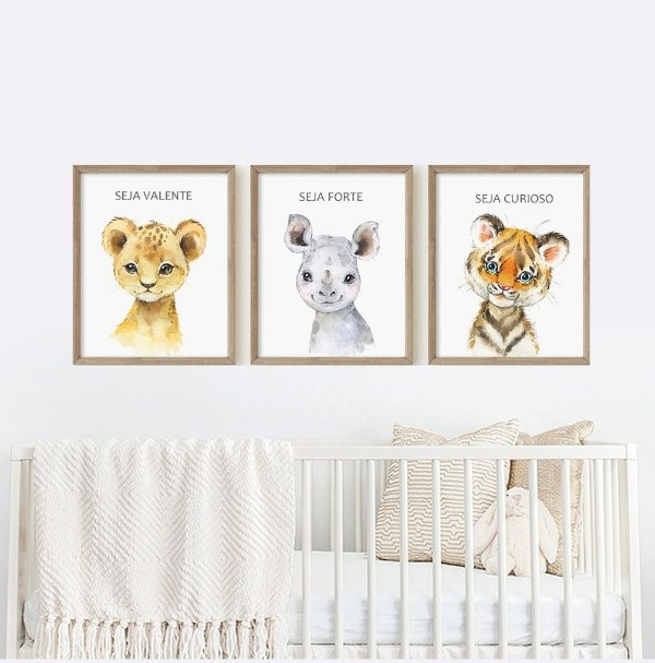 Quadro Infantil Decorativo Baby Animais Safari Cute