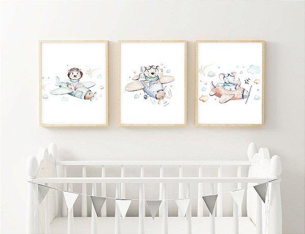 Quadro Infantil Aquarela Menino Ursinho Voador