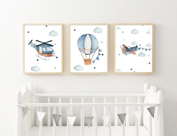 Quadro Infantil Decorativo Menino Balão Avião e Helicóptero Aquarela