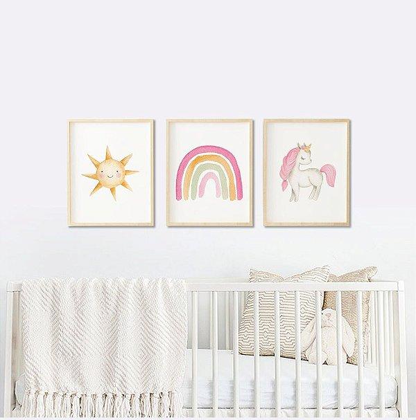 Quadro Infantil Menina em Aquarela Arco Íris Unicórnio e Sol