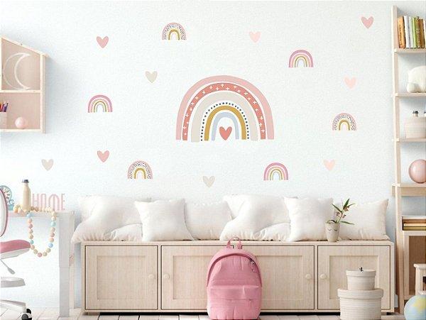 Adesivo infantil Arco Íris com Corações Candy Color