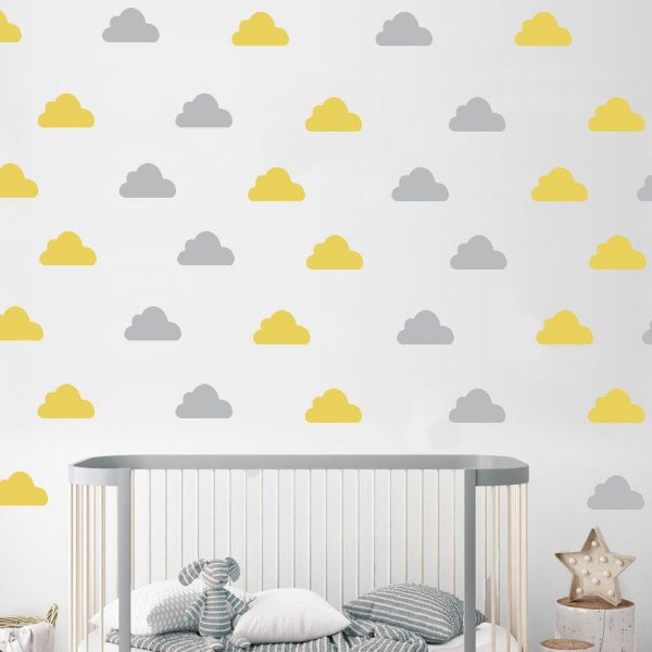 Adesivo de Parede Nuvem Amarelo e Cinza