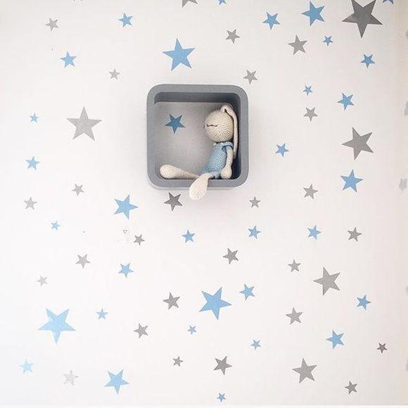 Adesivo de Parede Estrela Azul e Cinza