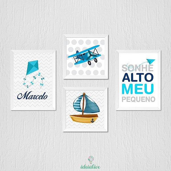 Quadro Infantil Pipa Sonhe Alto Avião e Barco