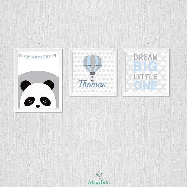 Quadro Infantil Panda Balão e Dream Big