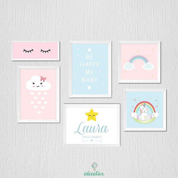 Quadro Infantil Nuvem Arco Íris Be Happy