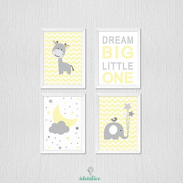 Quadro Infantil Girafa Dream Nuvem e Elefantinho