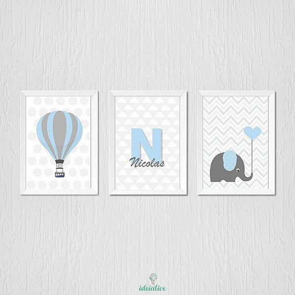 Quadro Infantil Balão Elefantinho e Nome