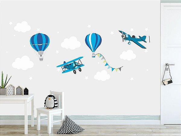 Adesivo Parede Infantil Balão e Avião