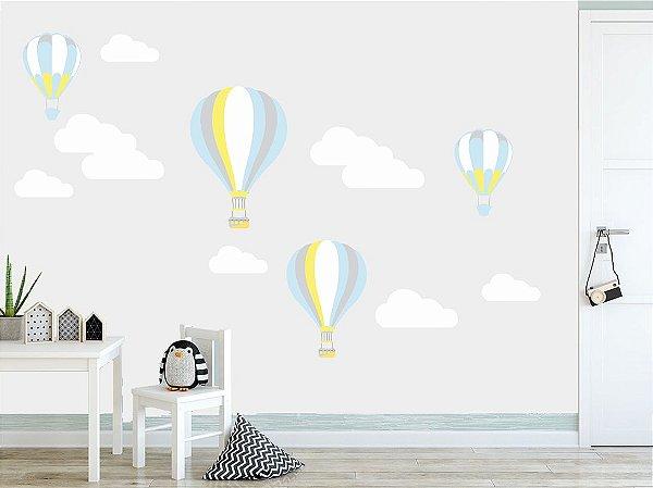 Adesivo Parede Infantil Nuvens e Balões