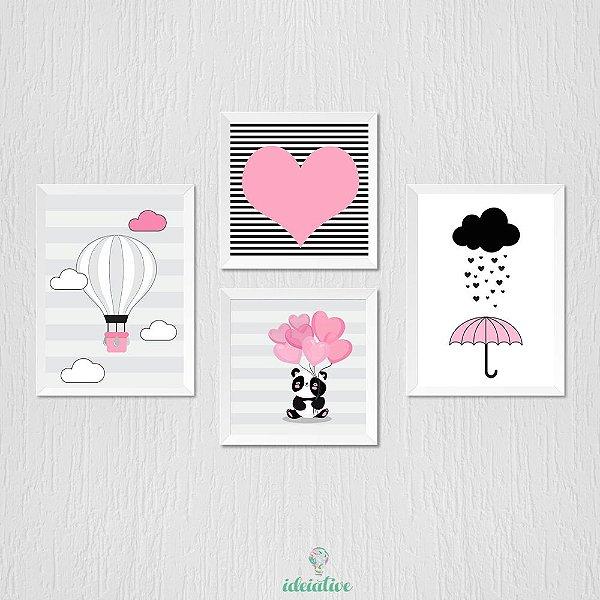 Quadro Infantil Menina, Balão, Panda, Guarda Chuva e Coração