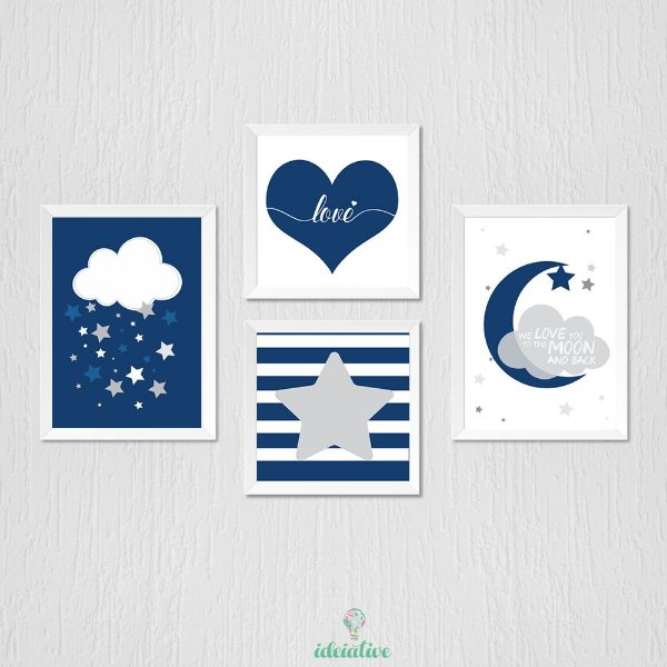 Quadro Infantil Nuvem Lua Coração e Estrela