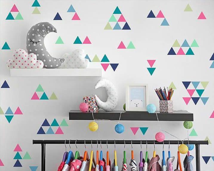 Adesivo Parede Infantil Triângulos Coloridos