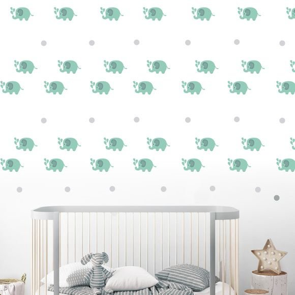 Adesivo Parede Infantil Elefante Verde