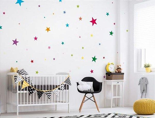 Adesivo de Parede Estrelas Coloridas