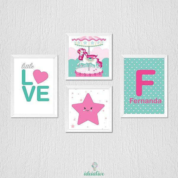 Quadro Infantil Love, Unicornio, Estelinha e nome personalizado