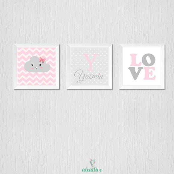 Quadro Infantil Nome Personalizado Love e Nuvem