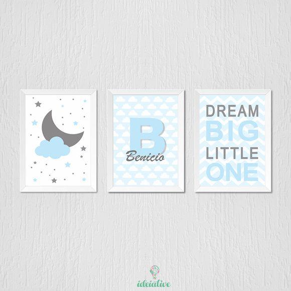 Quadro Infantil Nome Personalizado Dream e Lua