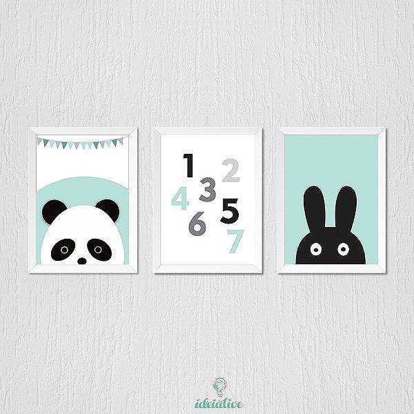 Quadro Infantil Panda Números e Coelhinho