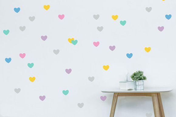 Adesivo Parede Infantil Coração Colorido