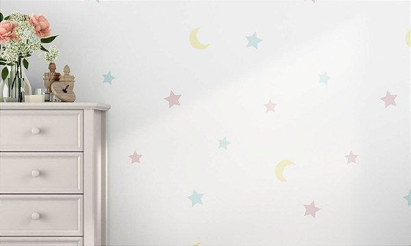 Adesivo de Parede Estrela e Lua Em Tons Pasteis