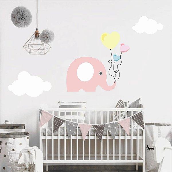 Adesivo Parede Infantil Elefante Rosa