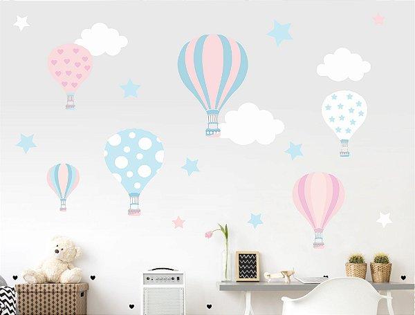Adesivo Infantil Balões e Nuvens